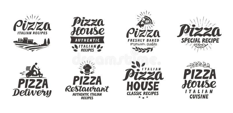 Pizza fastställda symboler för mat Samlingsbokstäver, etiketter för meny planlägger restaurangen eller kafét stock illustrationer