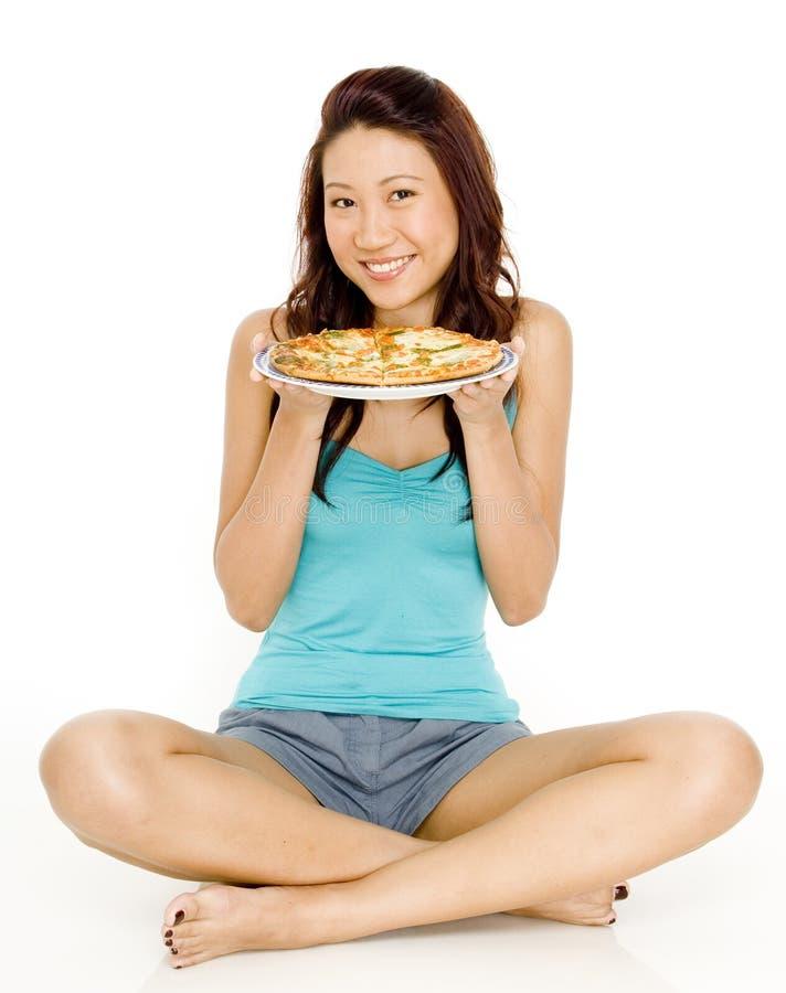 Pizza felice immagine stock
