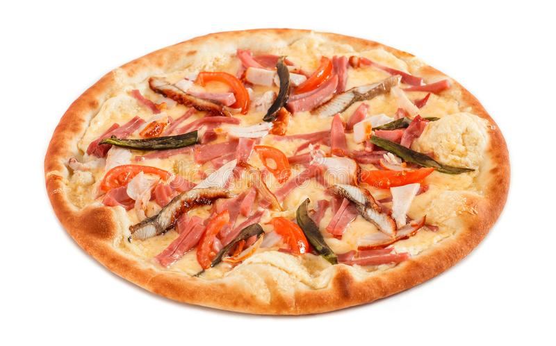 Pizza with fish eel, ham, pastrami and avocado isolated on white royalty free stock images