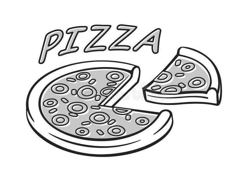 Pizza flat black and white icon. Pizza box banner. Pizza flat black and white icon vector illustration. Pizza box banner vector illustration