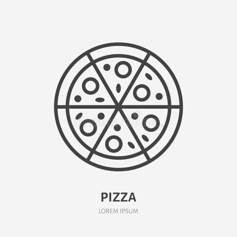 Pizza flat line icon. Vector thin sign of italian fast food cafe logo. Pizzeria illustration stock illustration