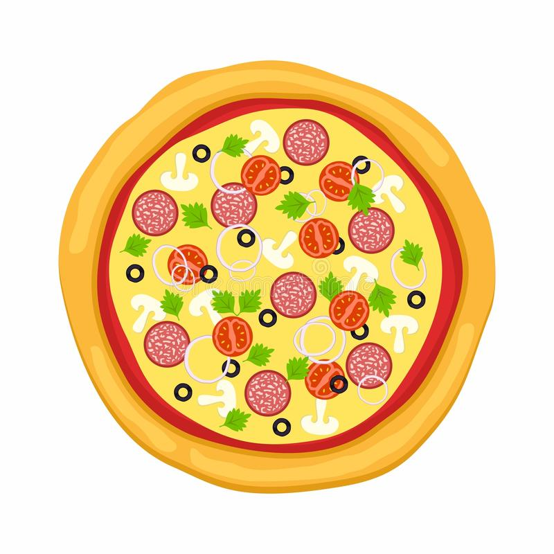 Pizza in flat style on white background. Icon food silhouette. Vector illustration.  royalty free illustration