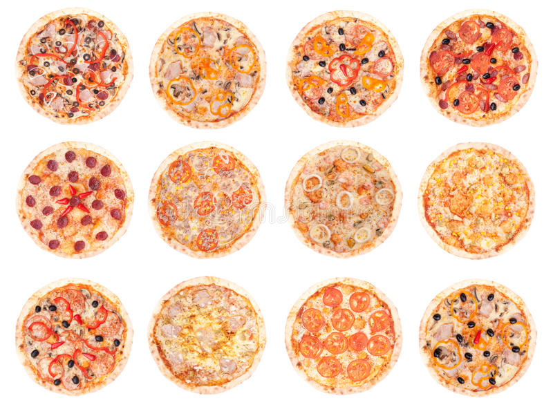 Pizza food. All pizzas, isolated on white background stock photography