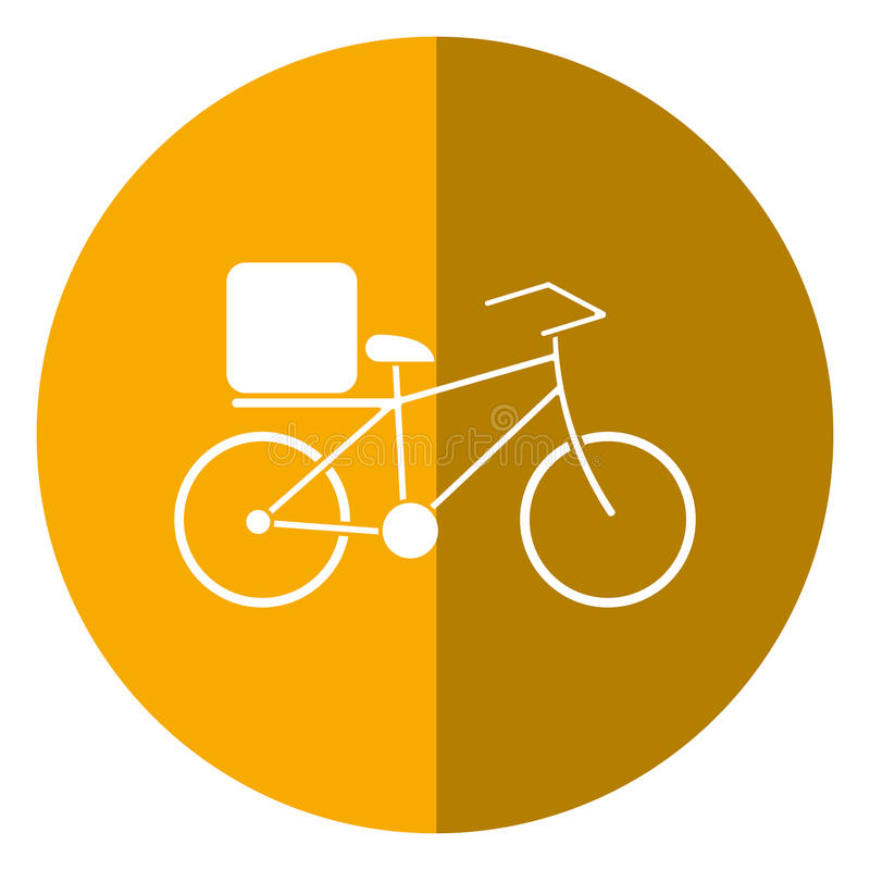 Pizza food delivery bicycle shadow stock illustration