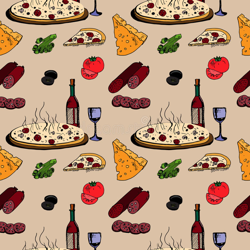 Pizza with food vector illustration