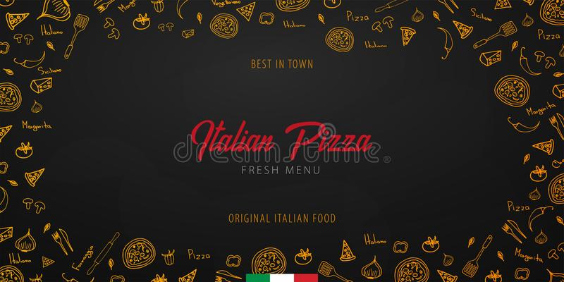 Pizza food menu for restaurant and cafe. Design banner with hand-drawn graphic elements in doodle style. Vector Illustration. Pizza food menu for restaurant and royalty free illustration