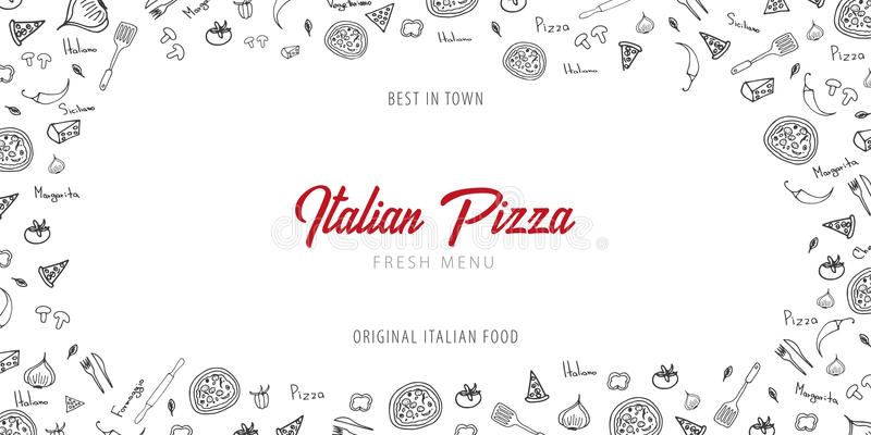 Pizza food menu for restaurant and cafe. Design banner with hand-drawn graphic elements in doodle style. Vector Illustration. Pizza food menu for restaurant and vector illustration