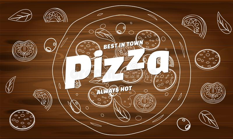 Pizza food menu for restaurant and cafe. Design in doodle lineart style template flyer baner with ingredients and text stock illustration