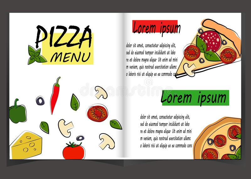 Pizza food menu for restaurant and cafe. vector illustration
