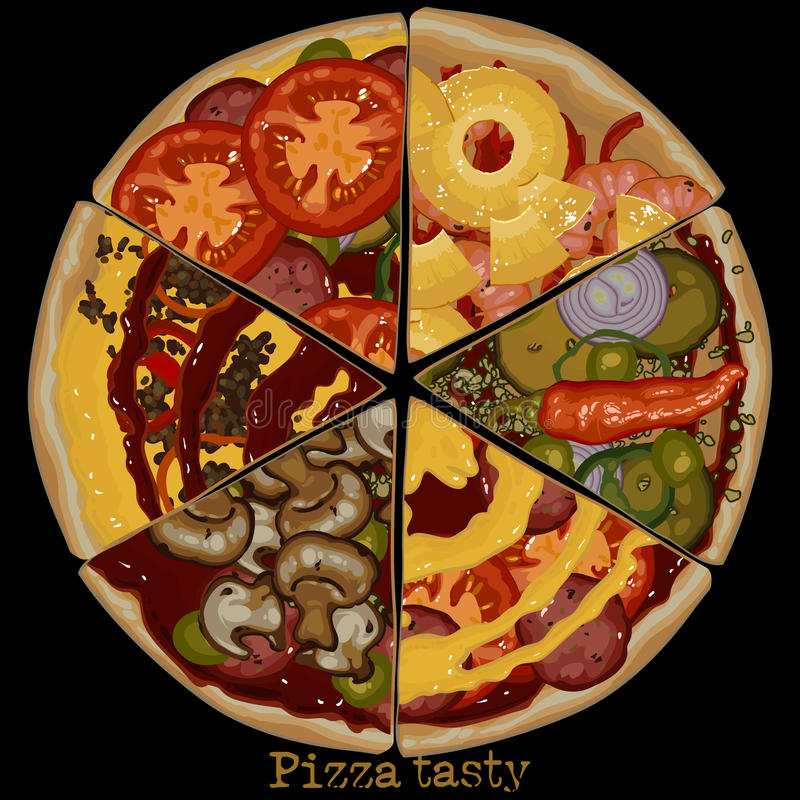 Pizza, freehand rysunek ilustracja wektor