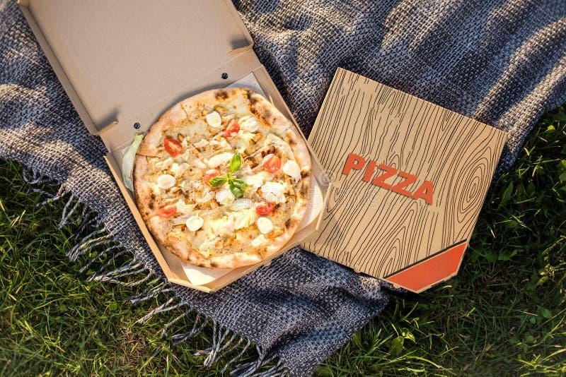 Pizza fresca all'aperto sull'erba verde in parco Alimento alla località di soggiorno Pasto rapido dello spuntino durante la vacan immagine stock libera da diritti