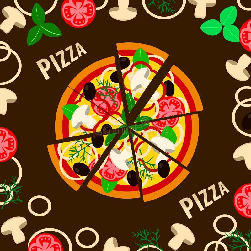 Pizza fresca com cogumelos, tomates, queijo, azeitonas e verdes Café tradicional italiano Vista superior dos alimentos ilustração do vetor