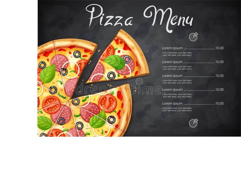 Pizza fresca con el tomate, queso, aceituna, salchicha, cebolla ilustración del vector