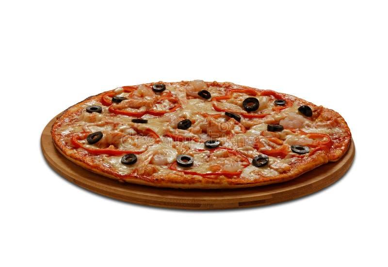 Pizza Gambretti Auf weißem Hintergrund stockfoto