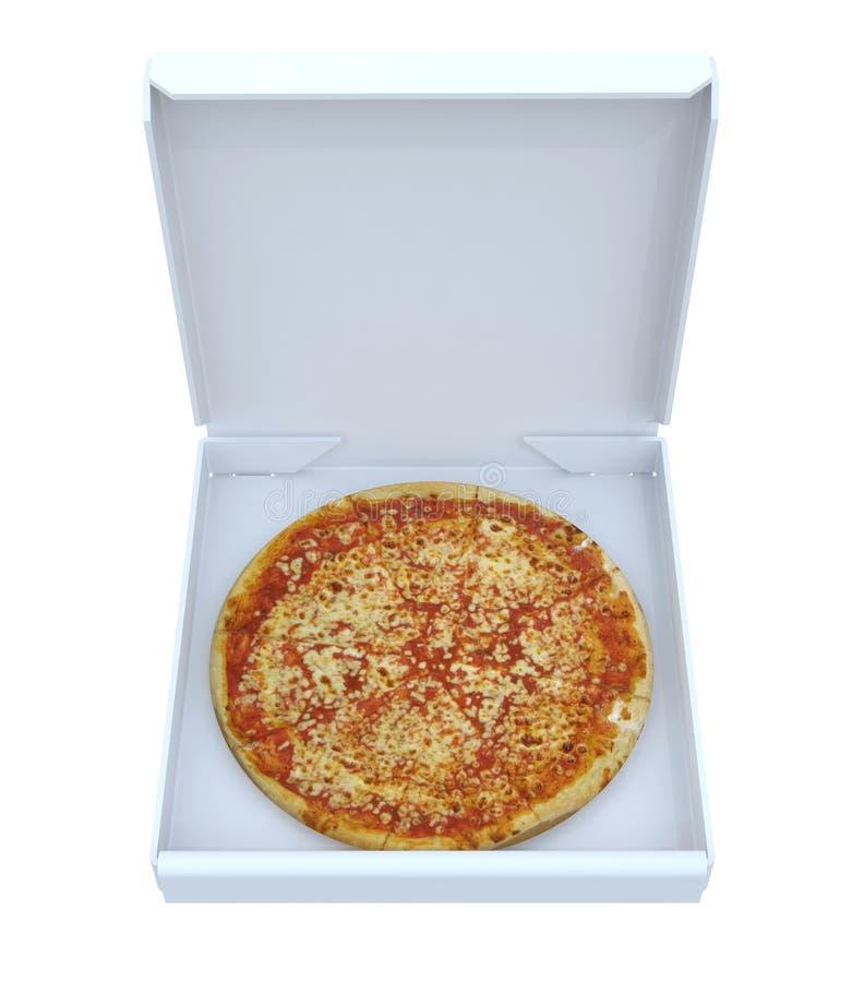 Pizza in geïsoleerde doos royalty-vrije stock foto