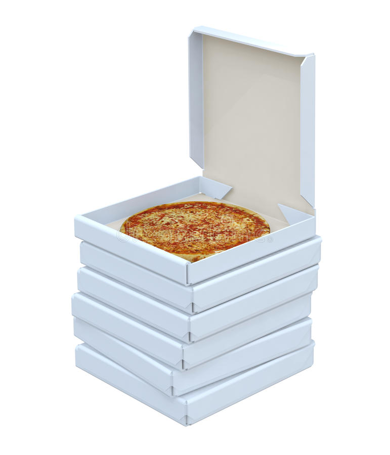 Pizza in geïsoleerde doos royalty-vrije stock afbeelding
