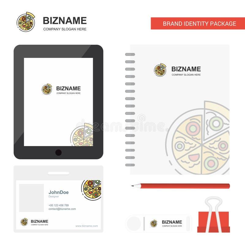 Pizza-Geschäfts-Logo, Tab App, Tagebuch PVC-Angestellt-Karte und USB-Marken-stationäre Verpackungsgestaltungs-Vektor-Schablone stock abbildung