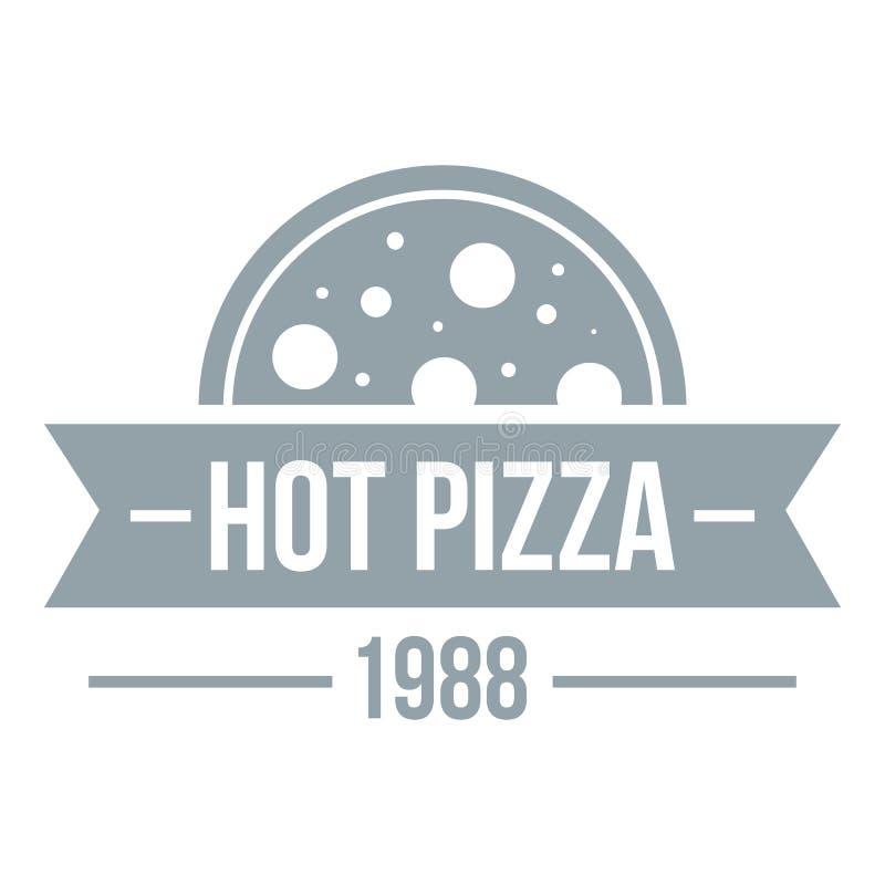 Pizza gorący logo, prosty szarość styl ilustracji