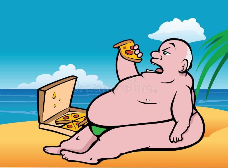 Pizza gorda de la playa del individuo libre illustration