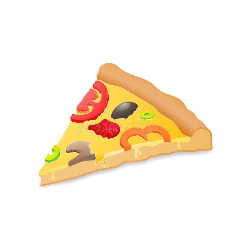 Pizza grande del pedazo, aislada sobre el fondo blanco libre illustration