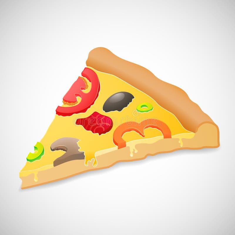 Pizza grande del pedazo, sobre el fondo blanco ilustración del vector