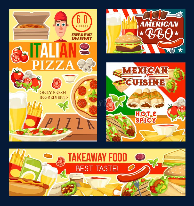 Pizza, grill, fast food i meksykanin kuchnia, ilustracja wektor