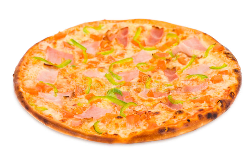 Pizza with ham and green paprika royalty free stock photos