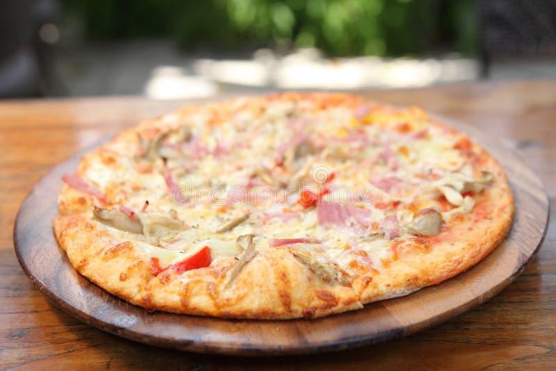 Pizza ham and mushroom stock photo