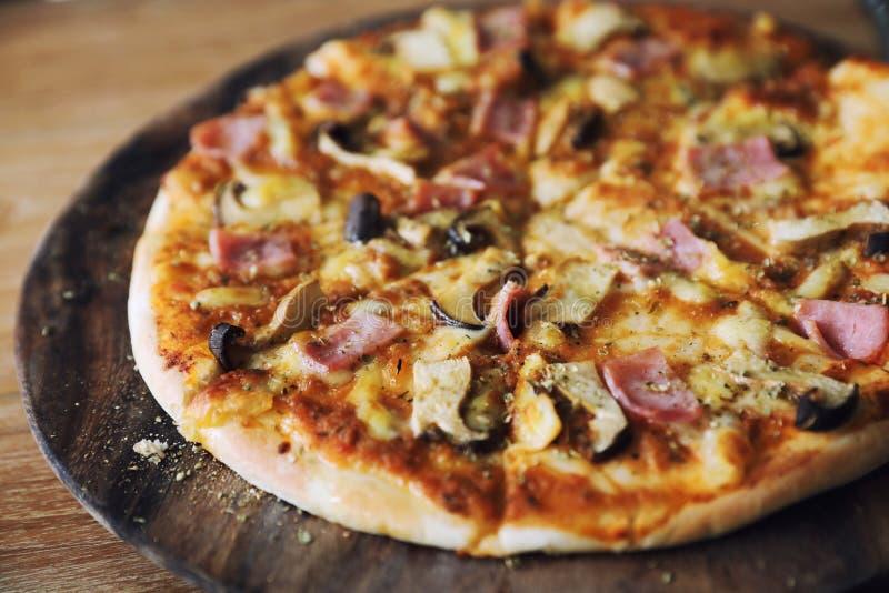 Pizza ham and mushroom royalty free stock photography