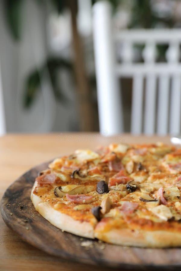 Pizza ham and mushroom stock photos