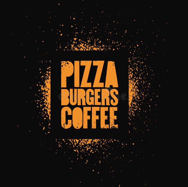Pizza hamburgare, kaffe Typografisk affisch för grunge för stil för stencilgatakonst för kafét, bistro, pizzeria retro vektor för stock illustrationer