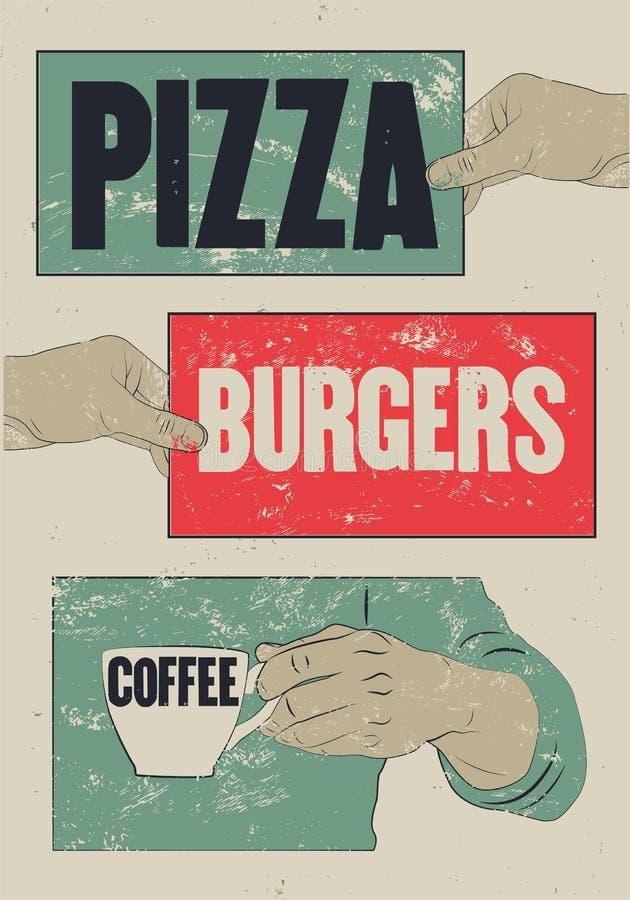 Pizza, hamburgers, café Affiche grunge de vintage typographique pour le café, Bistro, pizzeria Rétro illustration de vecteur illustration libre de droits