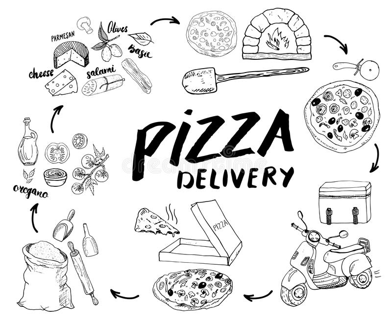 Pizza hand drawn sketch set. Pizza preparation and delivery process with flour and other food ingredients, paper box, oven and kit. Chen tools, scooter, pizza vector illustration