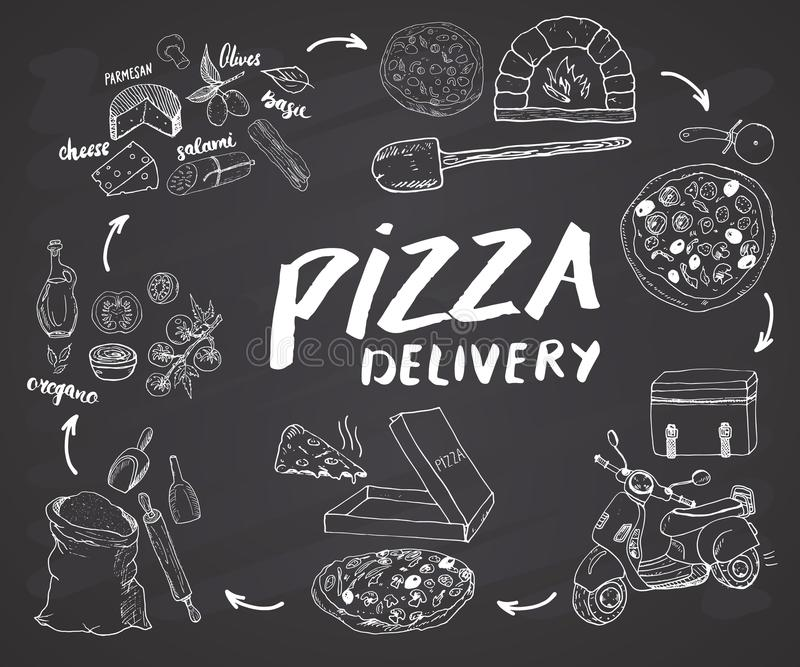 Pizza hand drawn sketch set. Pizza preparation and delivery process with flour and other food ingredients, paper box, oven and kit. Chen tools, scooter, pizza royalty free illustration