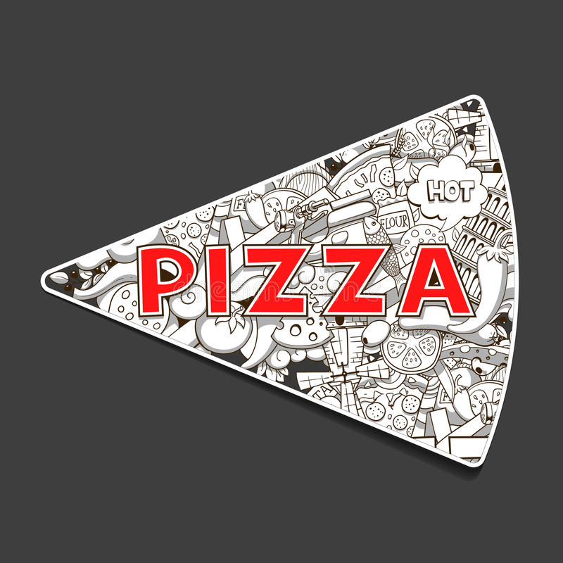Free Pizza Hand Drawn Title Design Vector Illustration Royalty Free Stock Image - 61166446