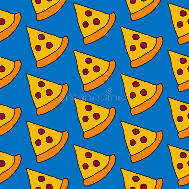 Pizza handdrawn seamless pattern royalty free illustration