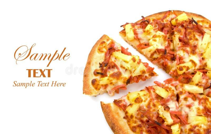 Pizza havaiana com espaço da cópia imagens de stock royalty free
