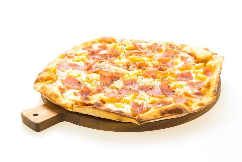 Pizza hawaiana sul vassoio di legno fotografia stock