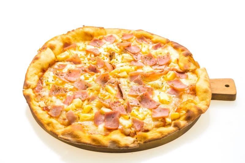 Pizza hawaiana sul vassoio di legno fotografia stock libera da diritti