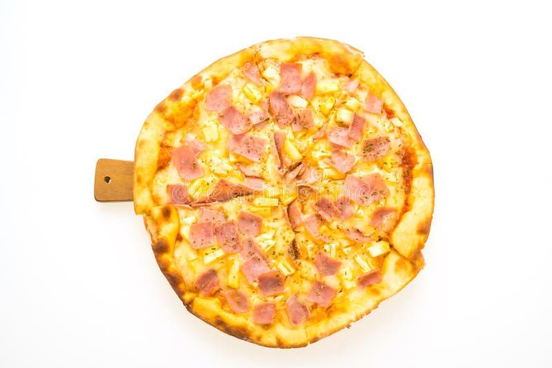 Pizza hawaiana sul vassoio di legno immagini stock libere da diritti