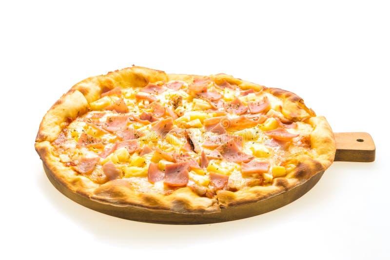 Pizza hawaiana sul vassoio di legno fotografie stock libere da diritti