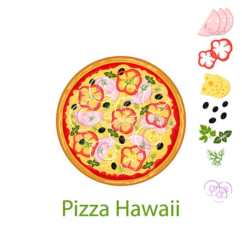 Pizza Hawaii flat icon isolated on white background. Pizza food silhouette. Food menu illustration isolated. royalty free illustration