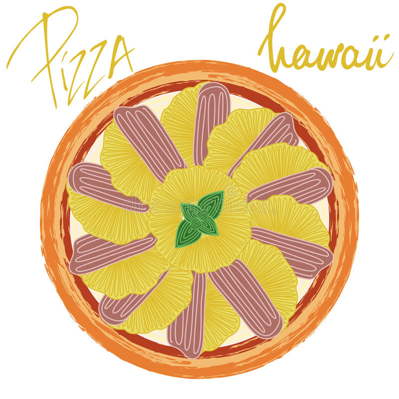 Pizza hawaii on white background. Pizza hawaii image on white background with handwritten caption. Vector illustration eps 10 vector illustration
