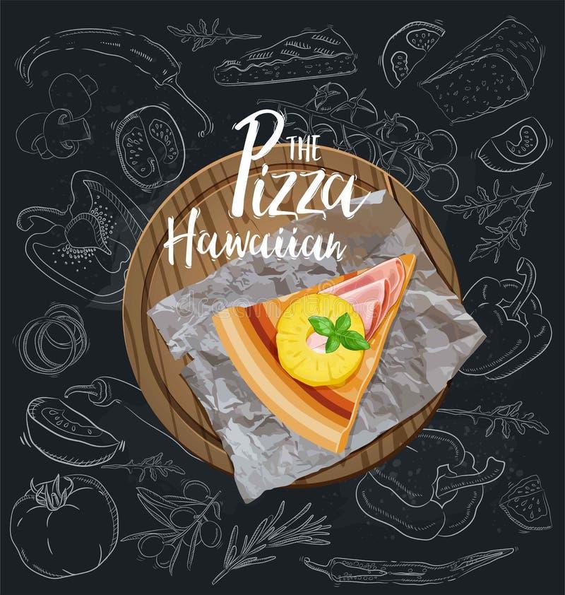 The Pizza Hawaiian slice with background. Vector stock illustration