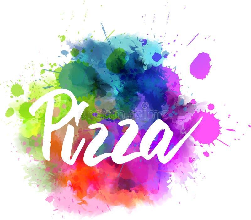 Pizza het van letters voorzien op waterverfachtergrond royalty-vrije illustratie