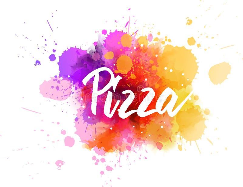 Pizza het van letters voorzien op waterverfachtergrond stock illustratie