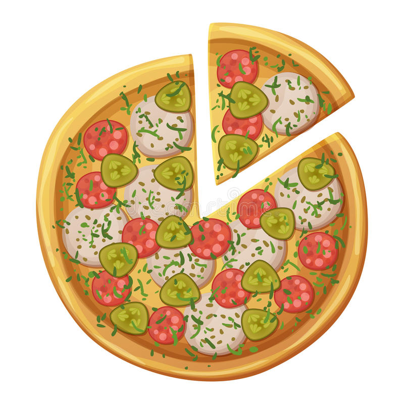Pizza Hoogste mening Salami, worsten, ingelegde komkommer, mozarellakaas stock illustratie