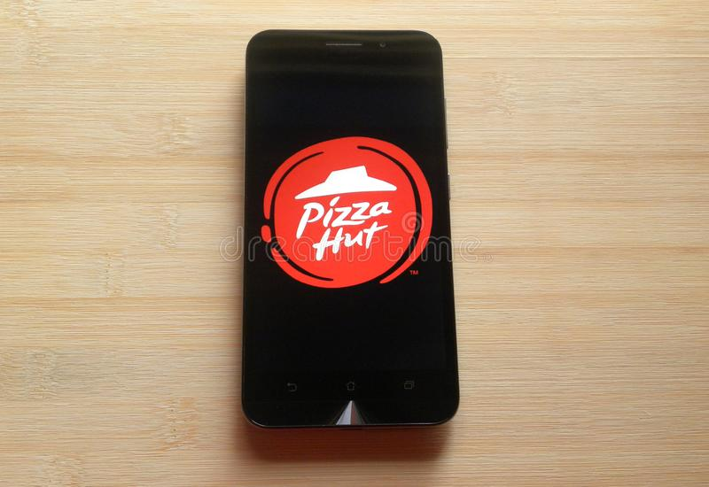 Pizza Hut-App lizenzfreie stockbilder