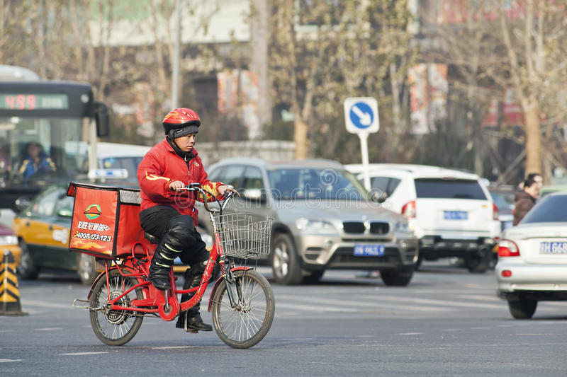 Pizza Hut food delivery on the road, Beijing, China royalty free stock photo