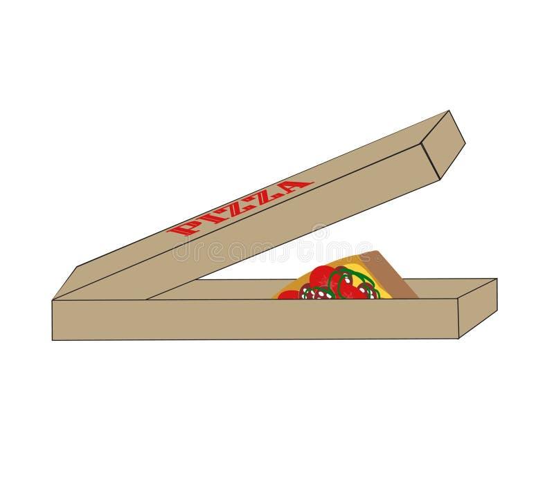 Pizza i boxas stock illustrationer
